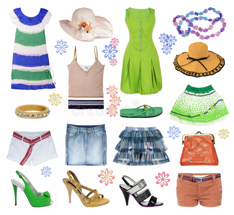 Collection summer clothes stock image