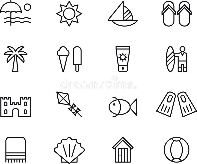summer time thin line web icons set vacation travel outline stroke icons design stock vector illustration of decoration card 93362242 dreamstime com