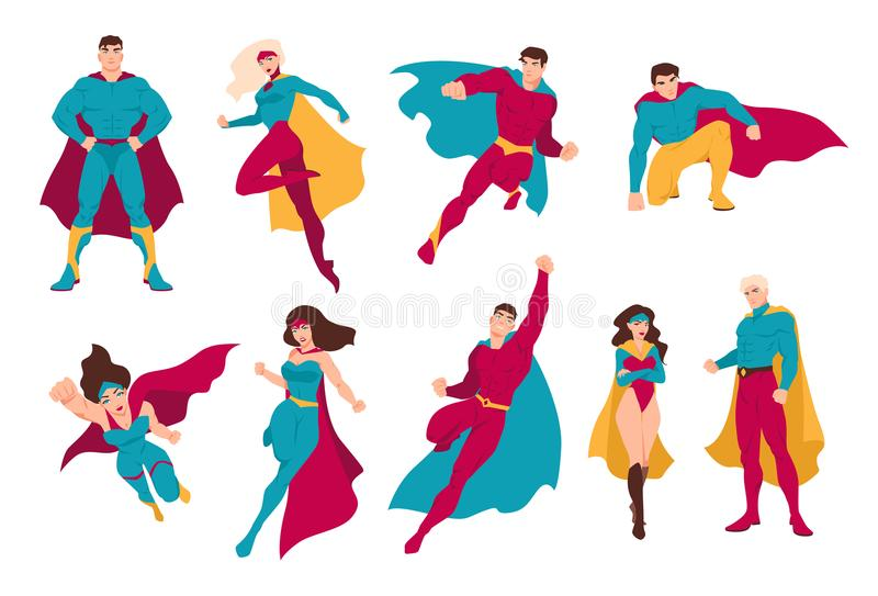 Collection of superheroes. Bundle of men and women with super powers. stock illustration