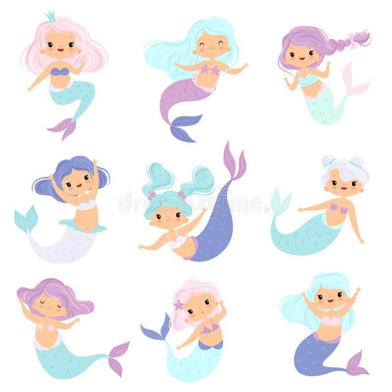 Collection of Sweet Little Mermaids, Lovely Fairytale Girl Princess Mermaid Characters Vector Illustration stock illustration
