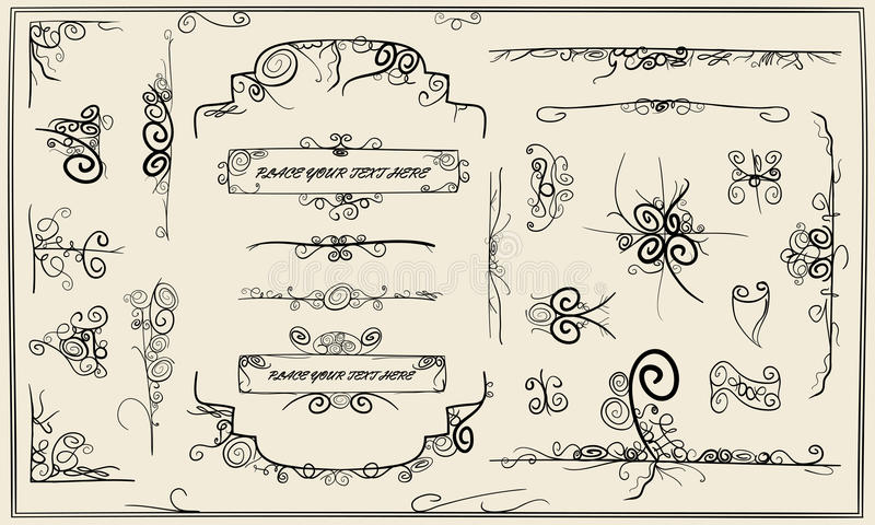 Collection of swirly design. Collection of artistic sketched swirly design elements vector illustration