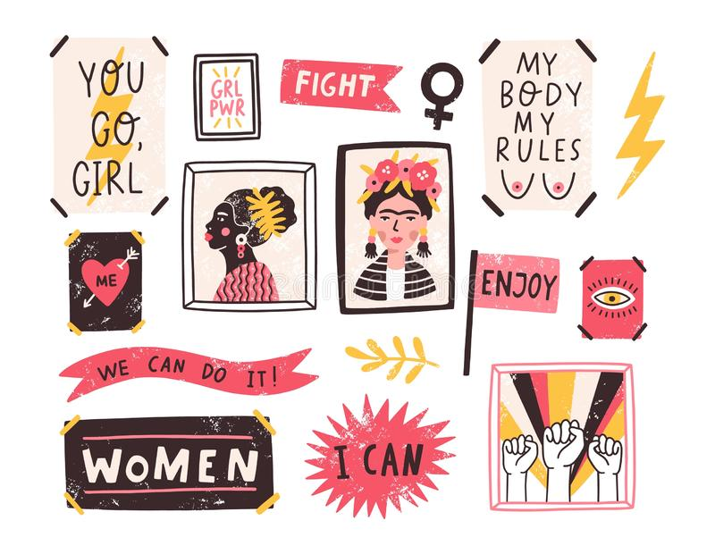 Collection of symbols of feminism and body positivity movement. Set of colorful stickers with feminist and body positive. Slogans or phrases. Modern vector royalty free illustration