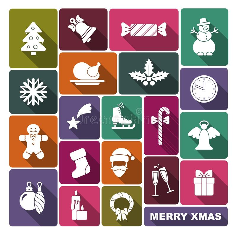 Collection of symbols of new year and Christmas vector illustration