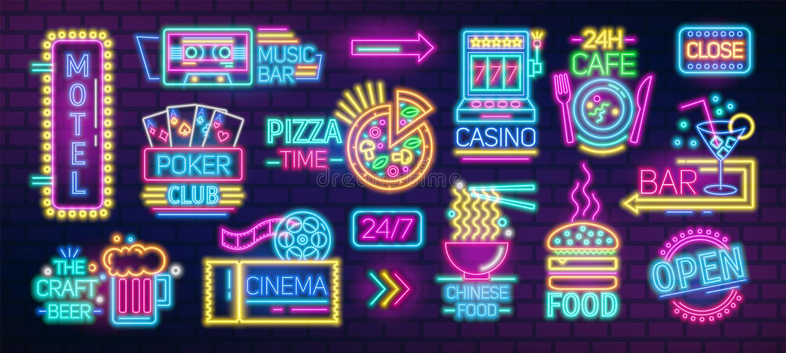 Collection of symbols, signs or signboards glowing with colorful neon light for poker club, casino, pizzeria, Chinese royalty free illustration