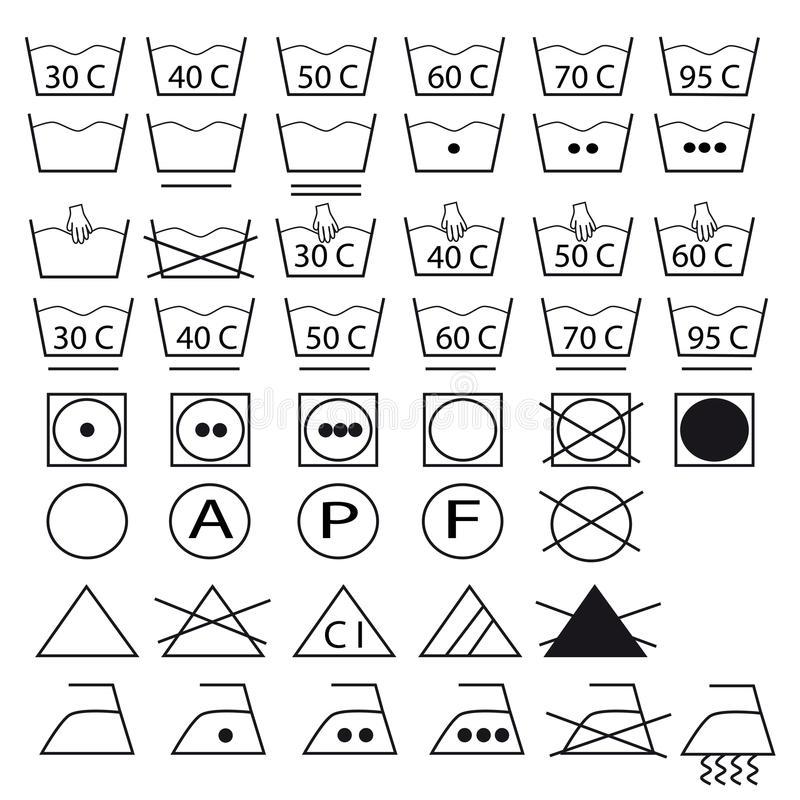 Collection of symbols for washing clothes royalty free stock photos