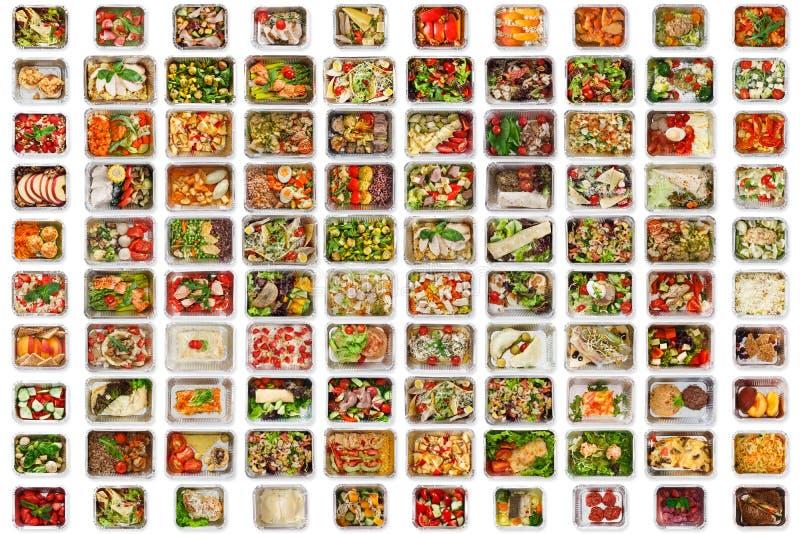 Set of take away food boxes at white background stock image