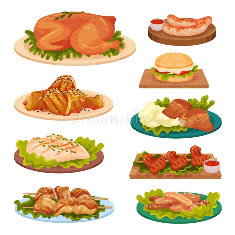 Collection of tasty poultry dishes, fried chicken meat, sausages, burger served on plates vector Illustration on a white royalty free illustration