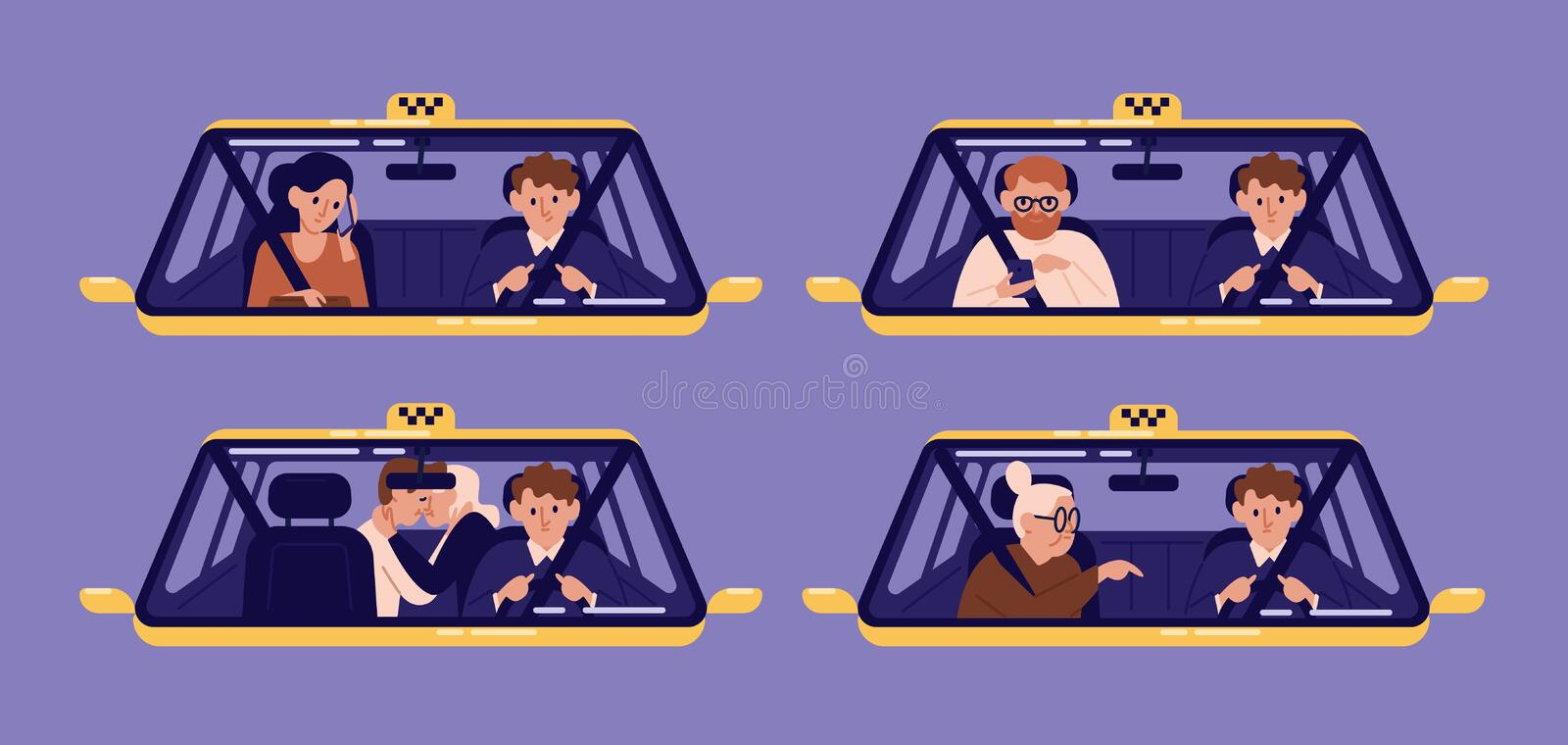 Collection of taxi customers or clients and driver in cab seen through windshield. Bundle of people using automobile. Service. Set of cute cartoon characters stock illustration