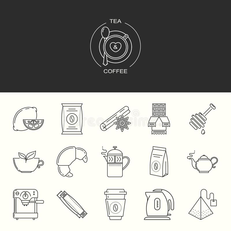 Collection of tea and coffee vector icons vector illustration