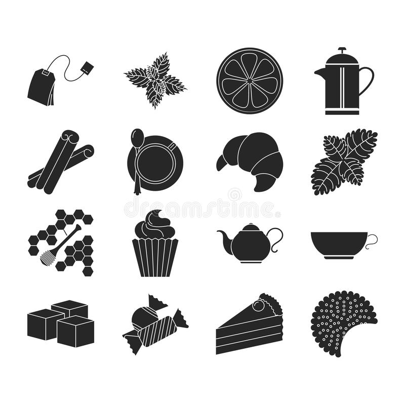 Collection of tea icons. Tea time vector illustration