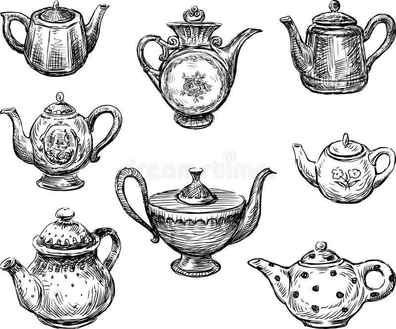 Collection of teapots royalty free illustration
