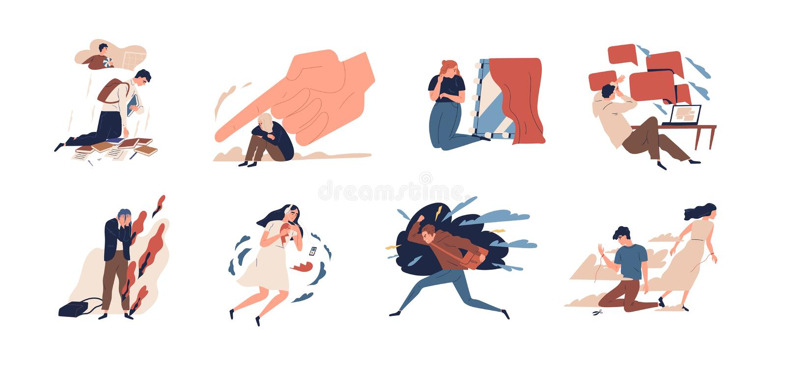 Collection of teens in stressful situations or teenager`s psychological problems - depression, anxiety, stress at school stock illustration