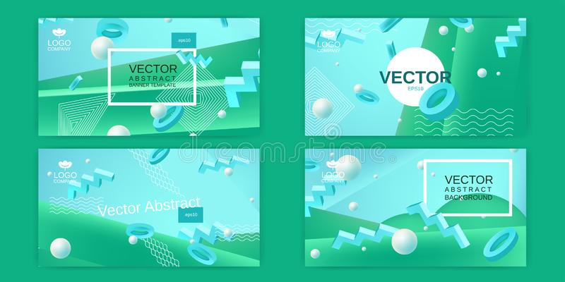 Vector abstract banners set in blue and green colors. Collection of templates for banner design in blue green colors with 3d elements and place for text royalty free illustration