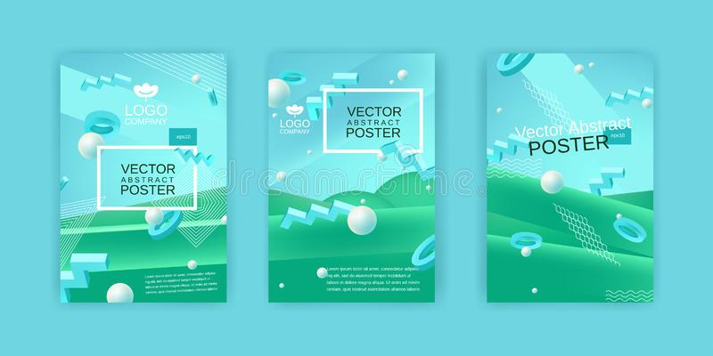Vector abstract posters set in blue and green colors. Collection of templates for banner or poster design in blue green colors with 3d elements and place for stock illustration