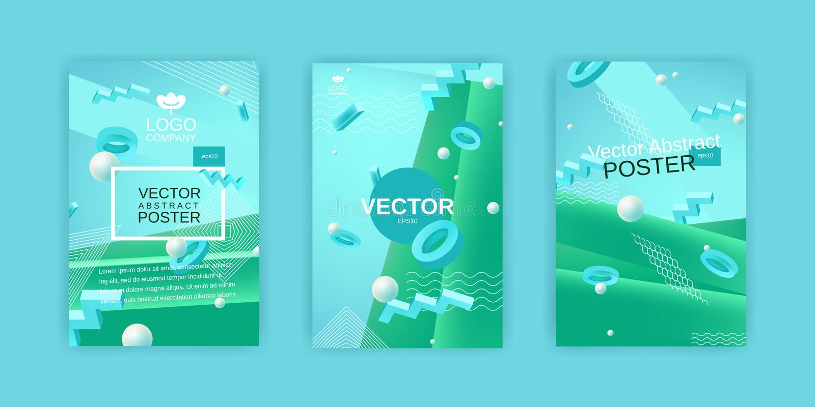 Vector abstract posters set in blue and green colors. Collection of templates for banner or poster design in blue green colors with 3d elements and place for royalty free illustration