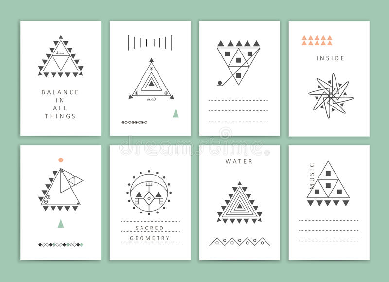 Collection of Templates. Cute Collection of Templates and modern creative cards. Hipster textures and shapes. Retro patterns for Posters, Flyers and Banner royalty free illustration