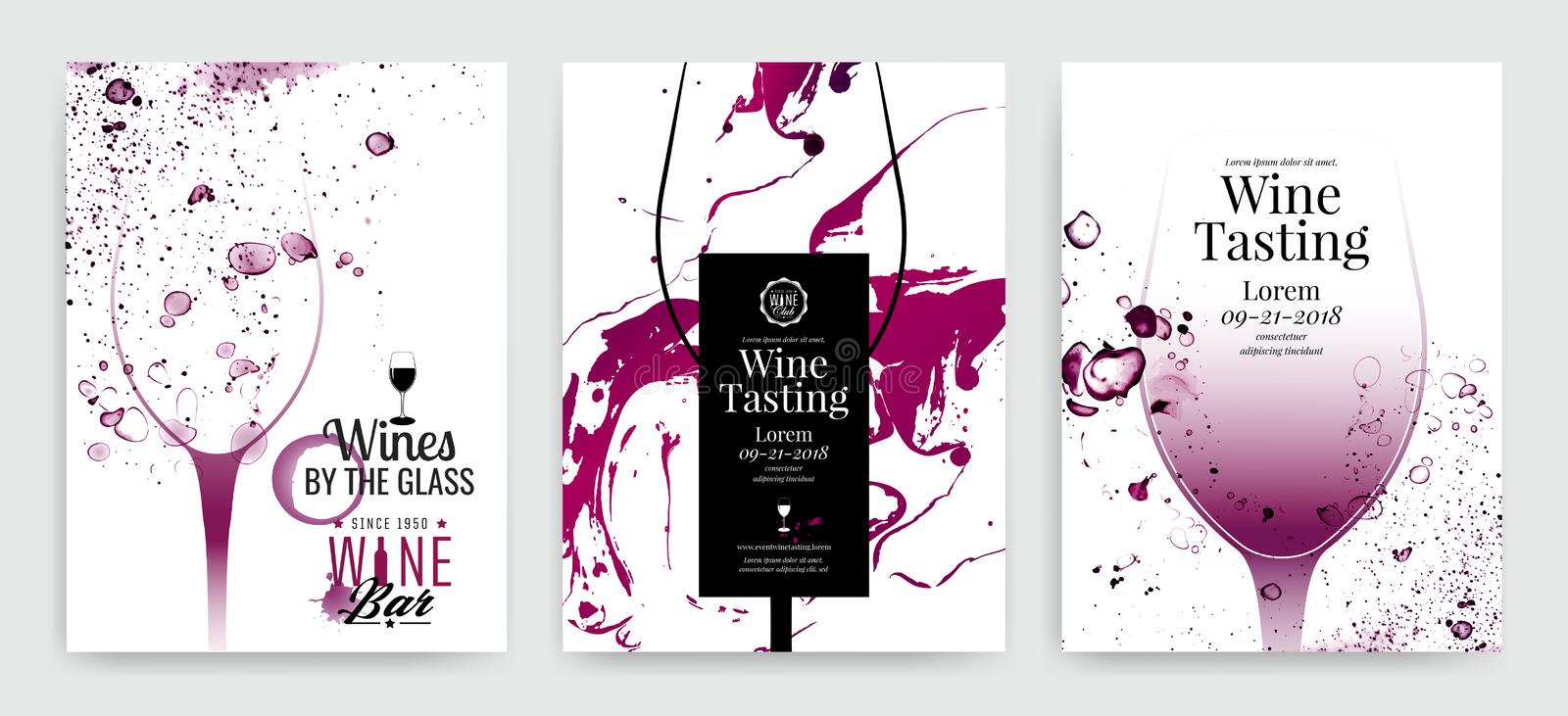 Collection of templates with wine designs. Brochures, posters, invitation cards, promotion banners, menus. Background effect wine stock illustration