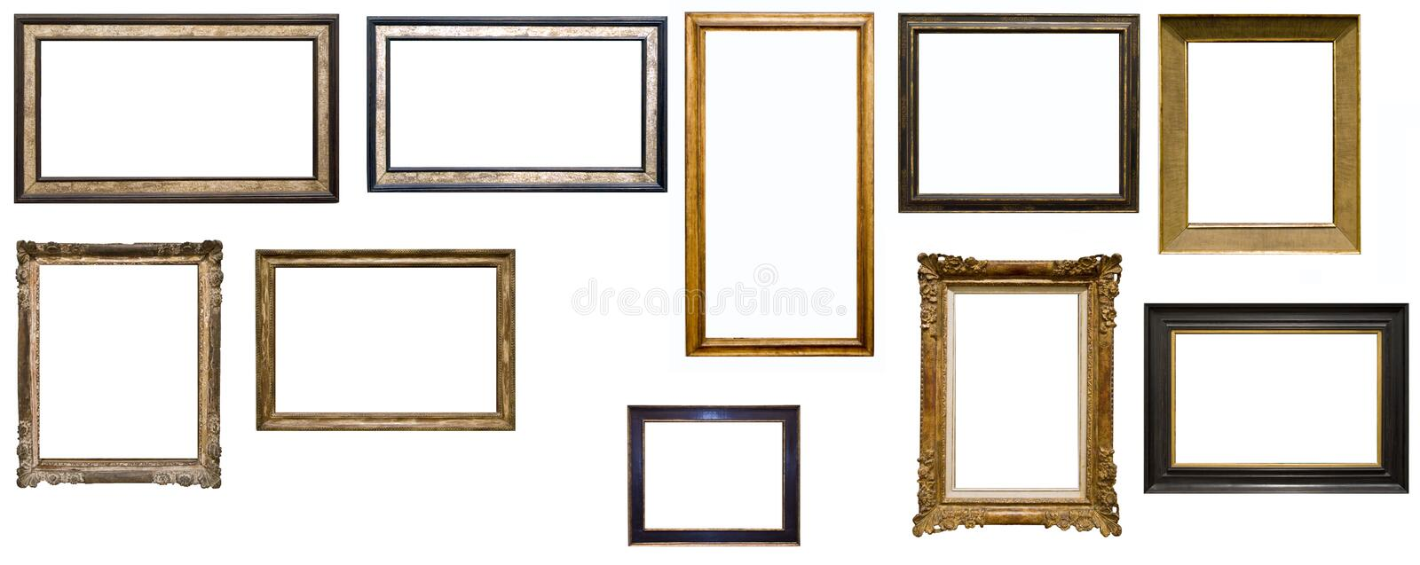 Collection of ten antique picture frames stock photography