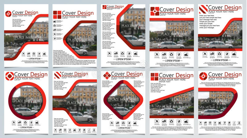 Collection of ten brochure template for annual technology related reposts,vector design a4 layout with space for text and photos. Red for web vector illustration