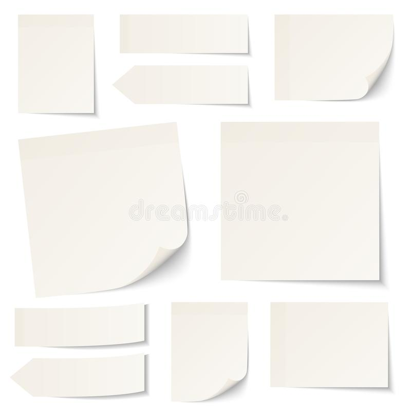 Set Of Different Beige Sticky Notes With Shadow stock illustration