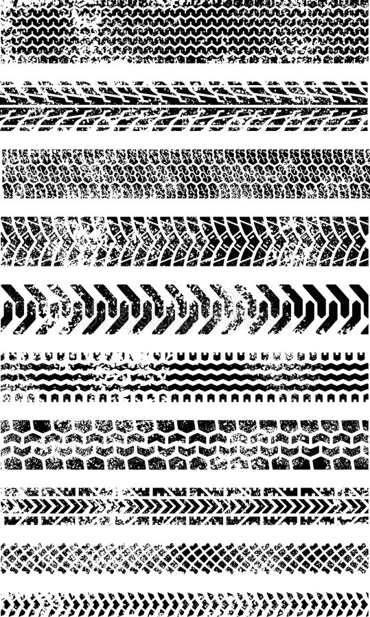 Collection of Ten High Quality Grunge Tire tracks royalty free illustration