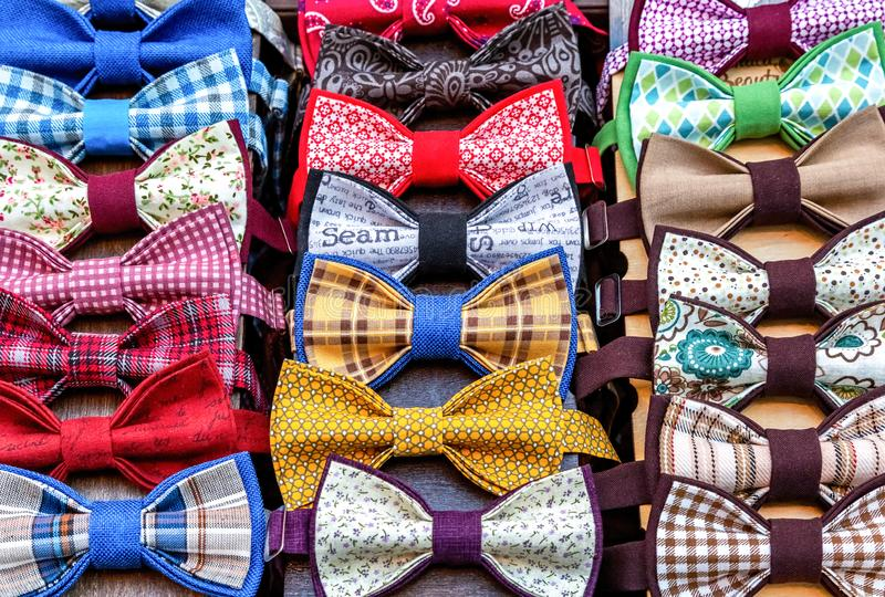 Collection of textile garments bow ties. For beauty. Different bow ties close up royalty free stock photography