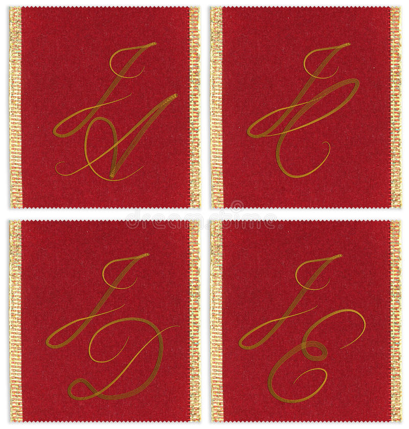 Collection of textile monograms stock images