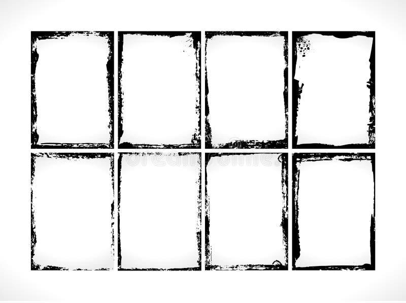 Collection texturisée grunge de cadres Descripteur de conception de vecteur illustration libre de droits