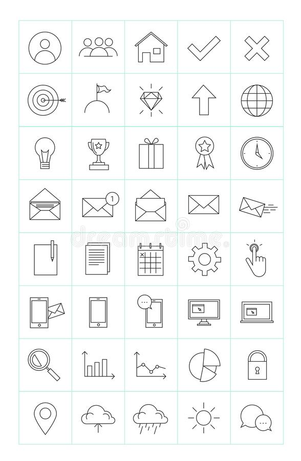 Collection of 40 thin line business icons for website or infographic isolated on white backgroun.  vector illustration
