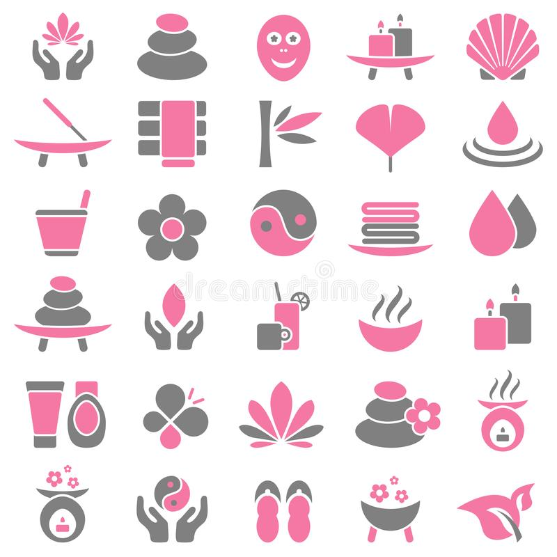 Set Of Thirty Wellness Icons Pink And Gray royalty free illustration