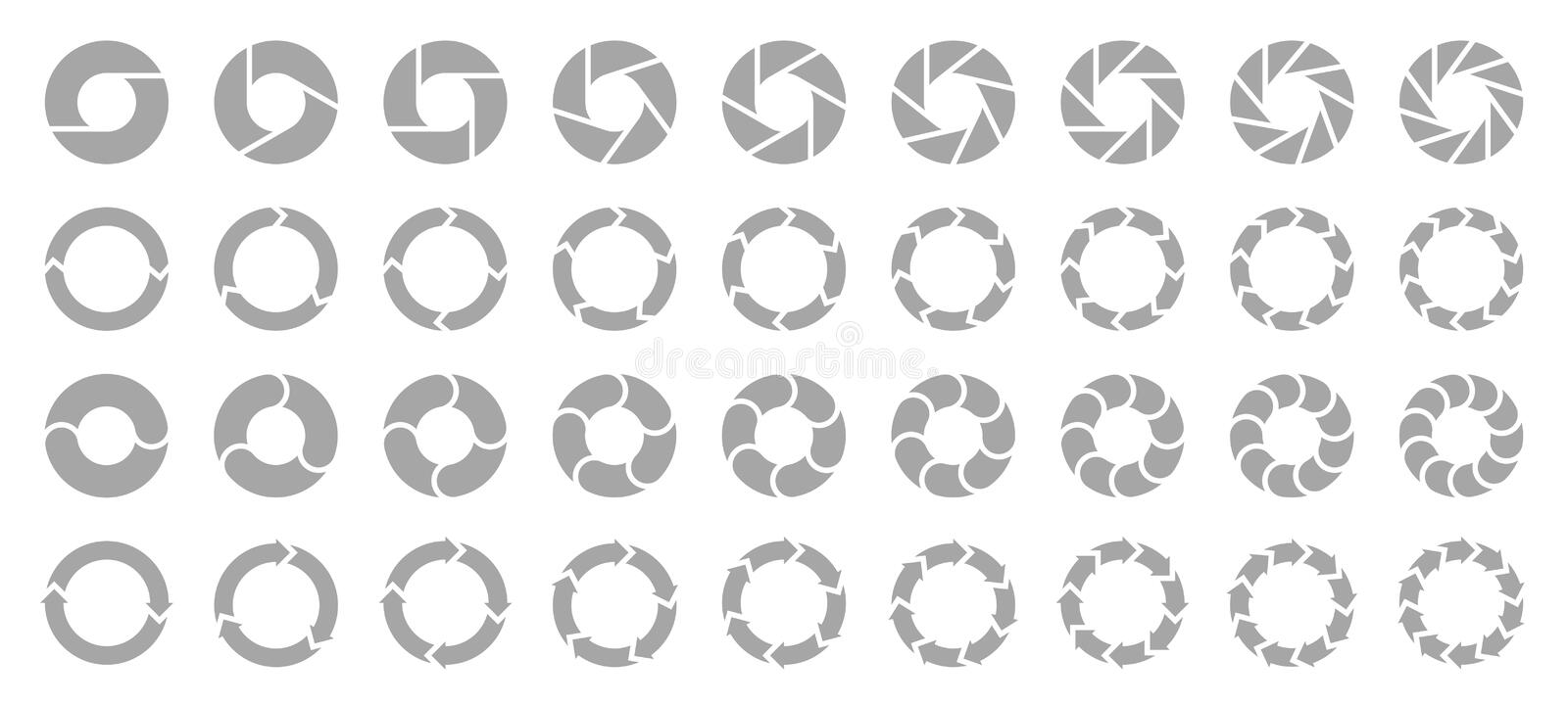 Set Of Different Pie Charts Arrows Gray. Collection Of Thirty Six Different Pie Charts Circles And Arrows With Gray Color stock illustration