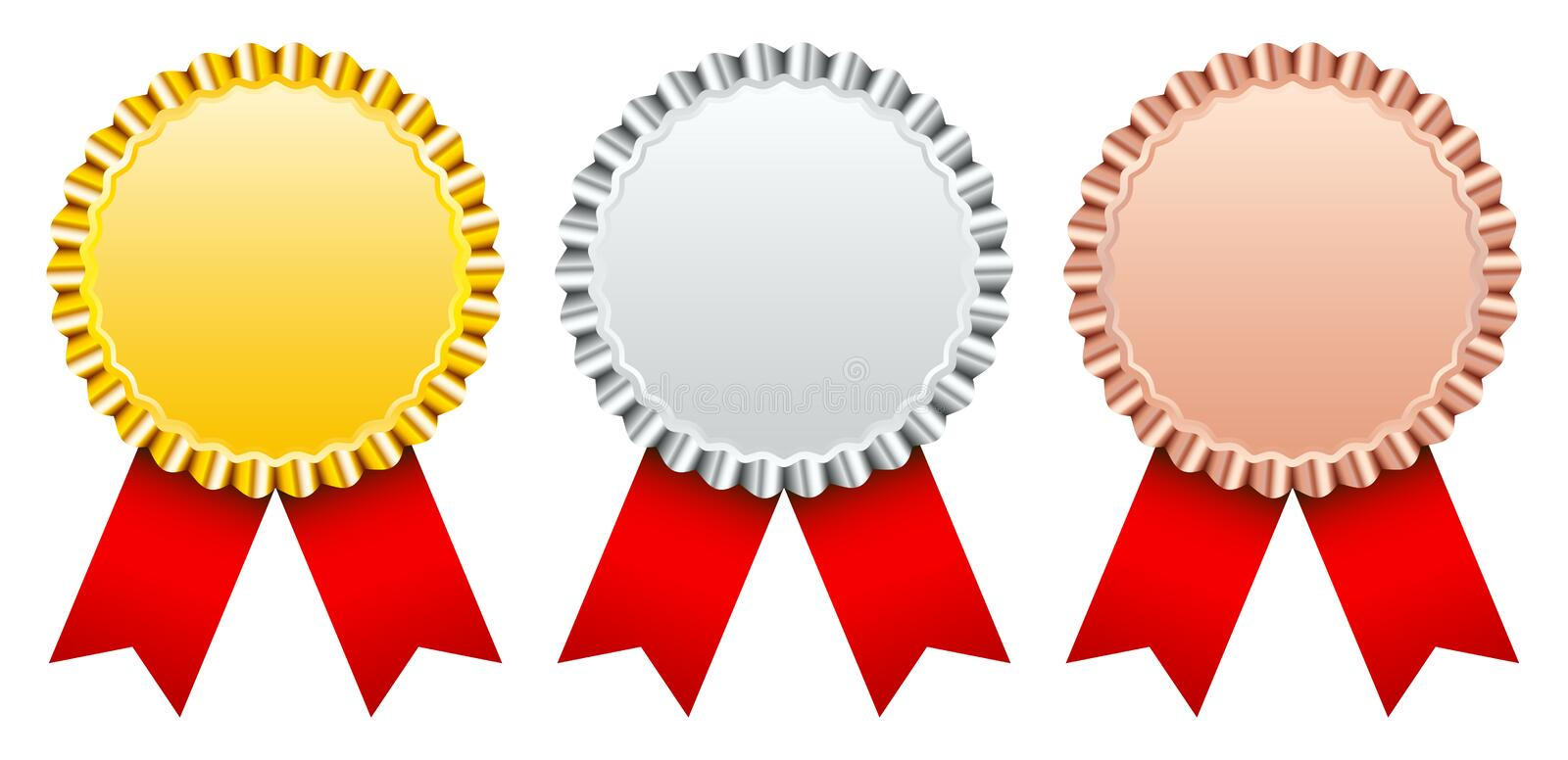 Set Of Three Award Badges Gold Silver Bronze With Red Ribbon stock illustration