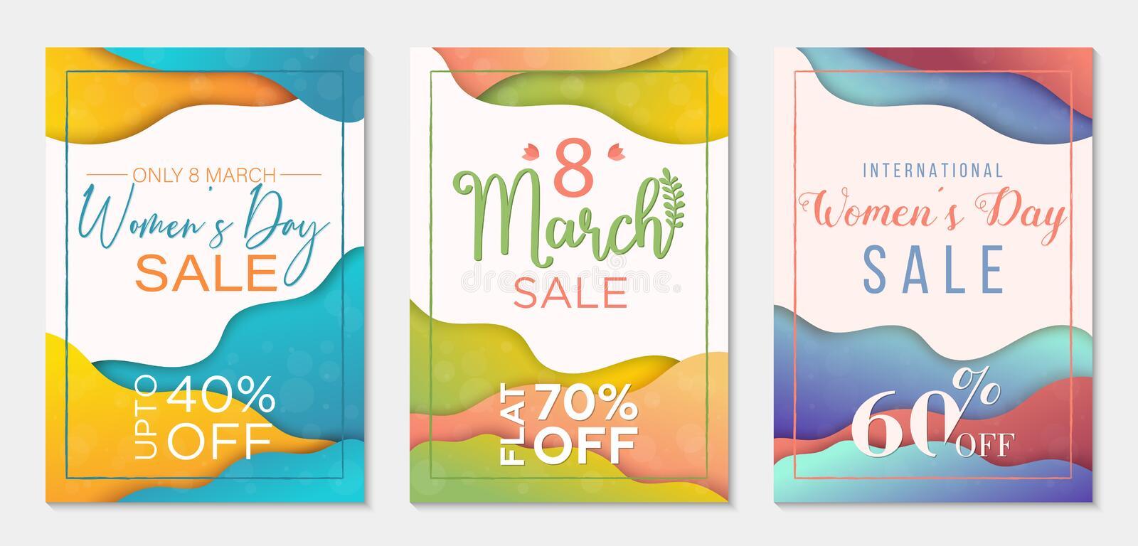 Collection of three sale banner templates to International Womens Day. Paper cut style backgrounds. Colorful templates for business royalty free illustration