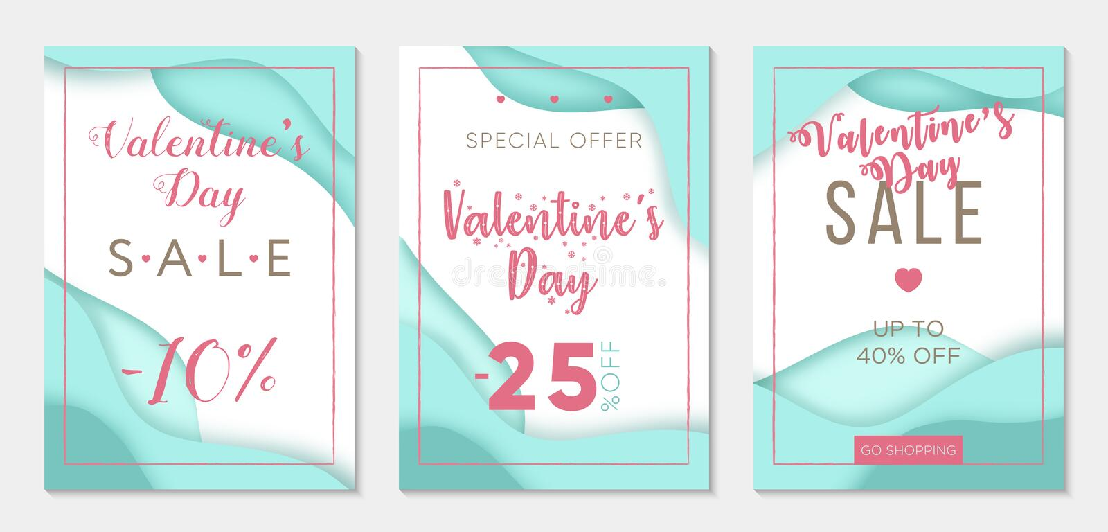 Collection of three sale banner templates to Valentine`s Day. Paper cut style. Blue backgrounds. Business template stock illustration