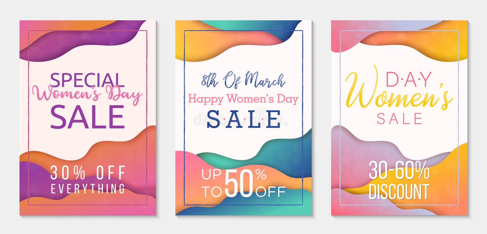 Collection of three sale banner templates to Womens Day. Paper cut style backgrounds. Colorful templates for business stock illustration