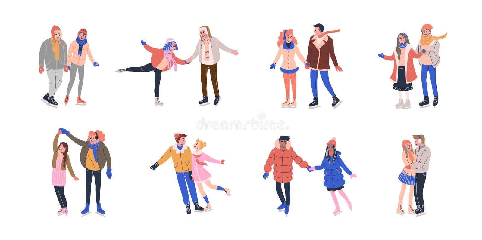 Collection of tiny skating couples having fun on ice rink stock illustration