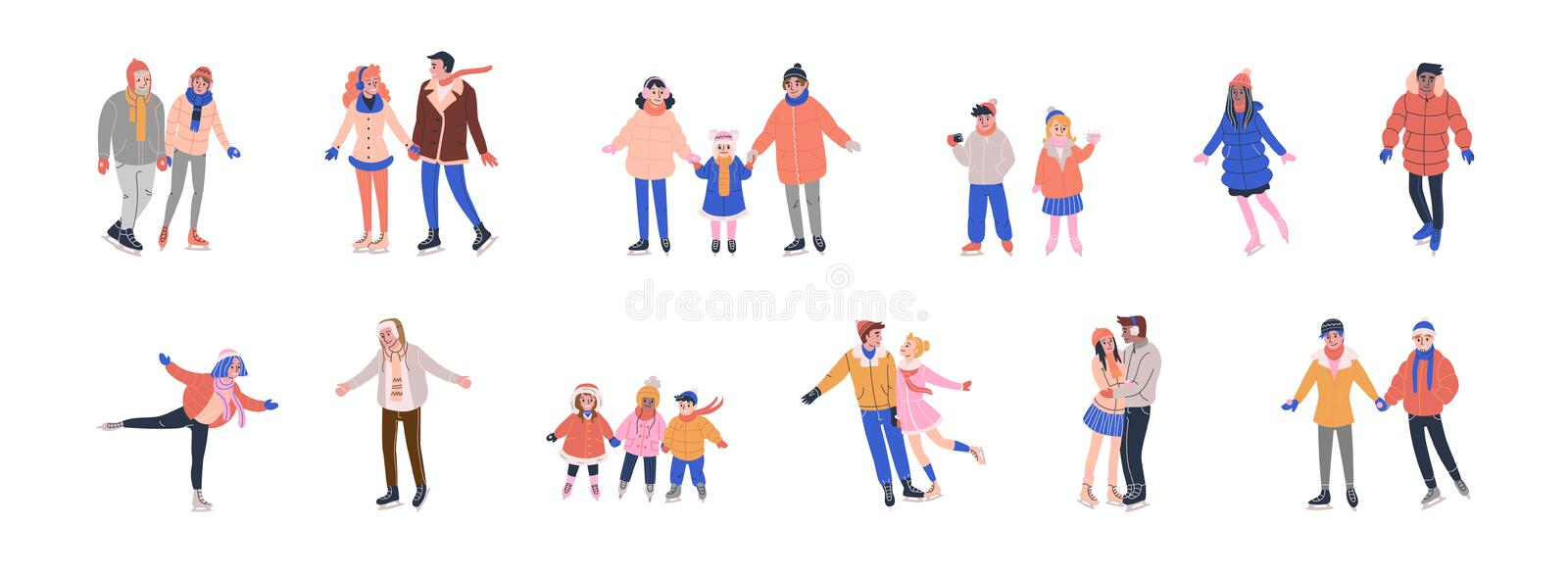Collection of tiny skating people royalty free illustration
