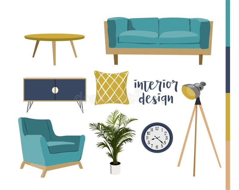 Collection tirée par la main d'éléments de conception intérieure dessin de meubles Illustration de vecteur illustration stock