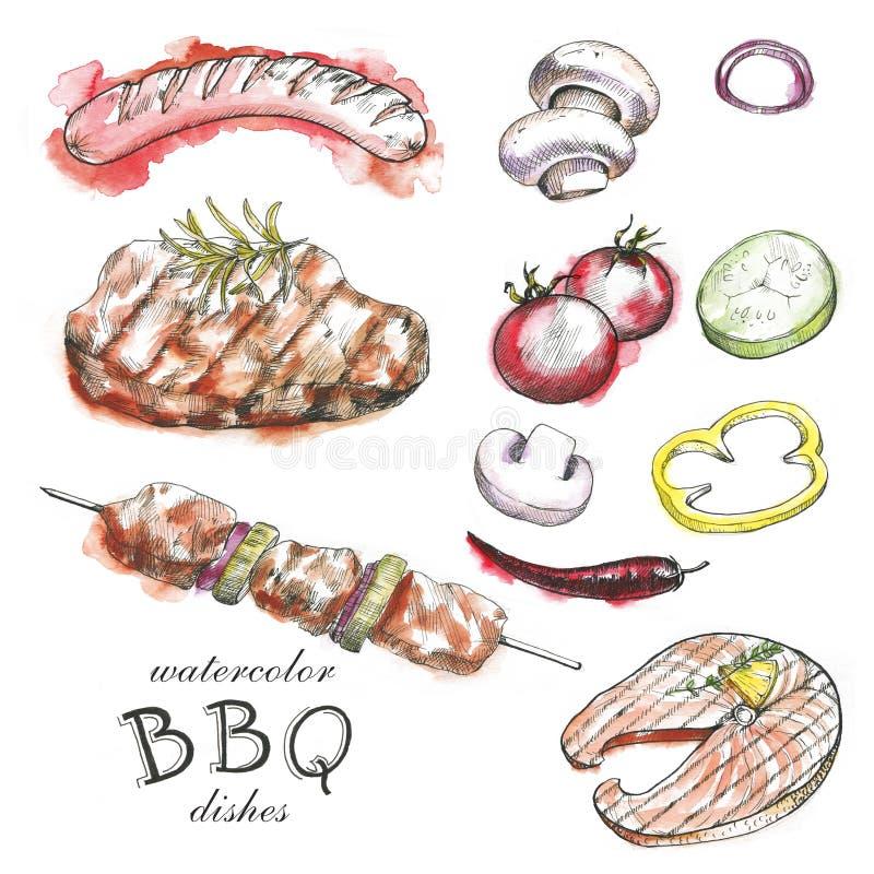 Collection tirée par la main d'aquarelle du barbecue illustration de vecteur