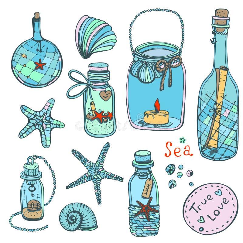 Collection tirée par la main d'illustrations-un de vecteur de coquilles, étoiles Ensemble de marine illustration stock