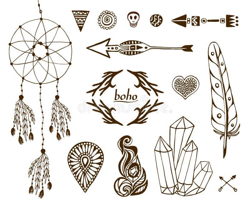 Collection tirée par la main de boho avec des flèches, cristal, plume, dreamcatcher, éléments ethniques pour la conception illustration libre de droits