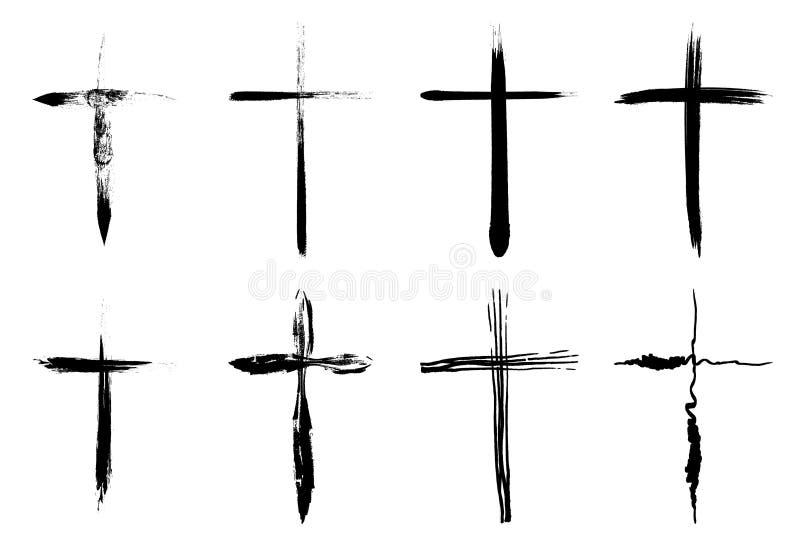 Collection tirée par la main de croix illustration libre de droits