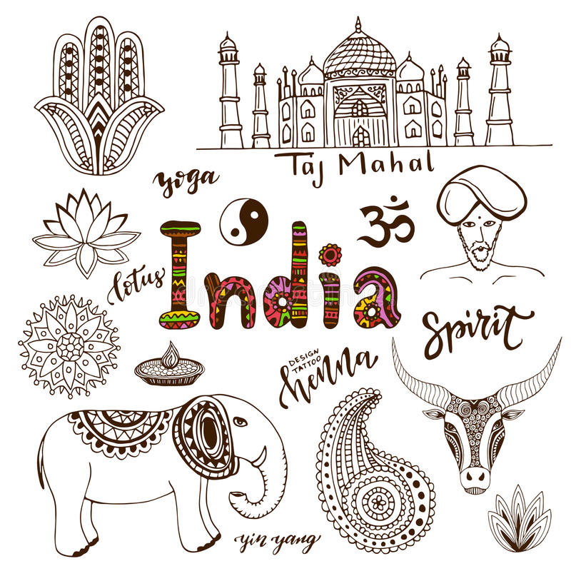 Collection tirée par la main de griffonnage d'icônes d'Inde illustration de vecteur