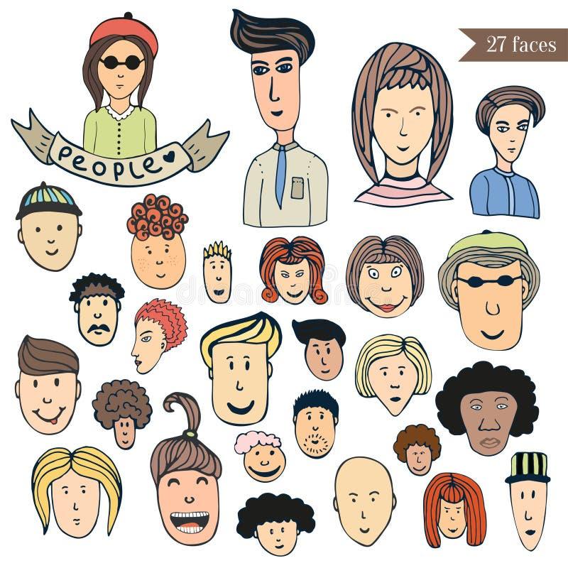 Collection tirée par la main de griffonnage de foule de personnes d'avatars Ensemble de vecteur de personnes de bande dessinée Ic illustration libre de droits