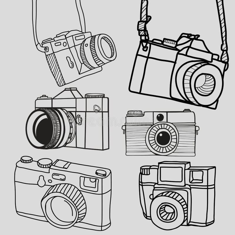 Collection tirée par la main de rétro d'appareil-photo griffonnage de vintage illustration libre de droits
