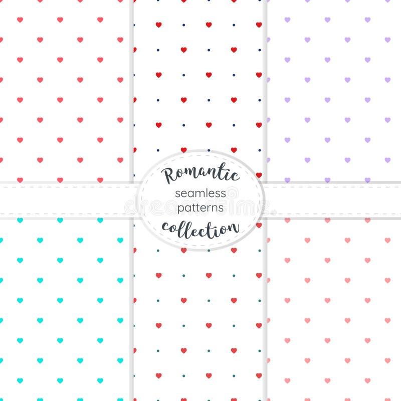 Collection tirée par la main symétrique de coeurs de modèles sans couture de vecteur illustration stock