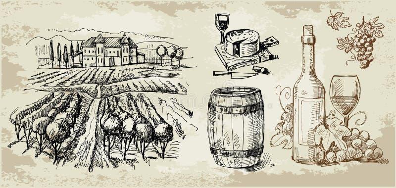 collection tirée par la main Vigne-initiale illustration stock