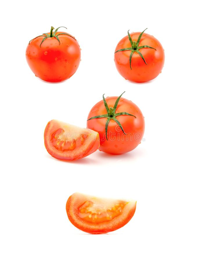 Collection of tomato in different variations isolated on white background. Clipping Path. stock photo