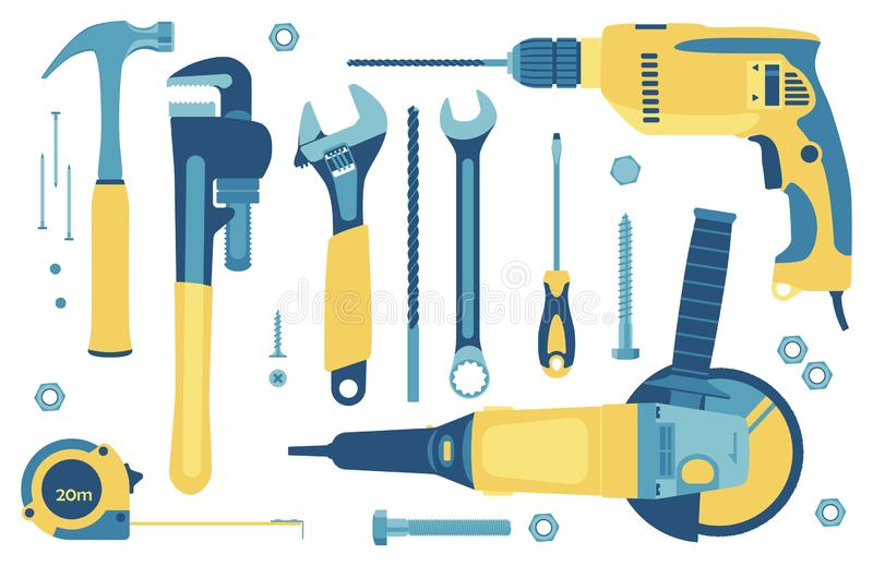 Set of tools for construction and repair in flat style. Vector illustration royalty free illustration