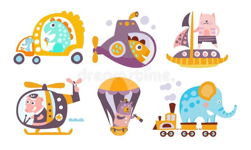 Collection of Toy Transport with Cute Animals, Funny Dinosaur, Fish, Cat, Pig, Bear, Elephant Driving Various Types of stock illustration